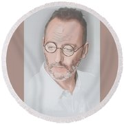 Round Beach Towel featuring the mixed media Jean Reno by TortureLord Art