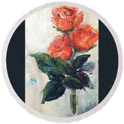 Jeannie's Roses Round Beach Towel