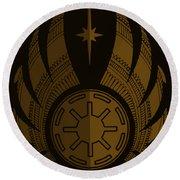 Jedi Symbol - Star Wars Art, Brown Round Beach Towel