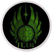 Jedi Symbol - Star Wars Art, Green Round Beach Towel