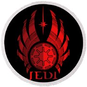 Jedi Symbol - Star Wars Art, Red Round Beach Towel