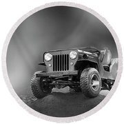 Round Beach Towel featuring the photograph Jeep Bw by Charuhas Images
