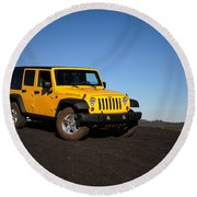Jeep Rubicon In The Cinders Round Beach Towel