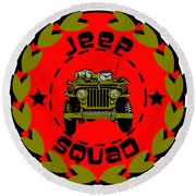 Jeep Squad Round Beach Towel