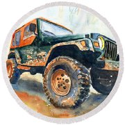 Jeep Wrangler Watercolor Round Beach Towel