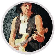 Jeff Beck Round Beach Towel
