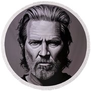 Jeff Bridges Painting Round Beach Towel