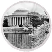 Jefferson Memorial Cherry Blosum Time Round Beach Towel by Paul Seymour