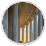 Jefferson Memorial Dawn Round Beach Towel by Inge Johnsson