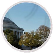 Jefferson Memorial Round Beach Towel by Megan Cohen