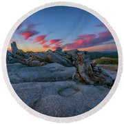 Round Beach Towel featuring the photograph Jeffrey Pine Dawn by Rick Berk