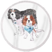 Jeffs Dogs Watercolor Kmcelwaine  Round Beach Towel