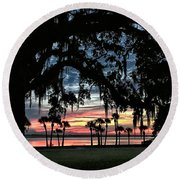 Jekyll Island Georgia Sunset Round Beach Towel