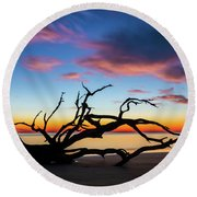 Jekyll Island Sunrise On Driftwood Beach Round Beach Towel