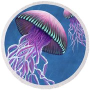 Jellies 3 Round Beach Towel by Rebecca Parker