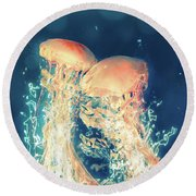 Jellies Round Beach Towel
