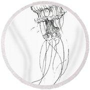 Jellyfish Sketch - Black And White Nautical Theme Decor Round Beach Towel