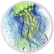 Jellyfish Watercolor Round Beach Towel