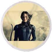Jennifer Lawrence The Hunger Games  2012 Publicity Photo Round Beach Towel