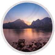 Jenny Lake Sunset Grand Teton Np Round Beach Towel