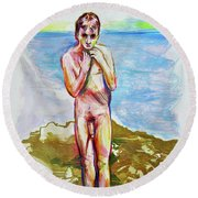 Round Beach Towel featuring the painting Jeremy At The Beach by Rene Capone