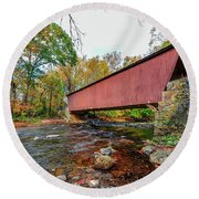 Jericho Covered Bridge In Maryland During Autumn Round Beach Towel