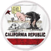 Jerry Brown - California Drought And High Speed Rail Round Beach Towel
