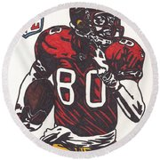 Round Beach Towel featuring the drawing Jerry Rice by Jeremiah Colley