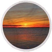 Jersey Shore Sunset Hdr Round Beach Towel