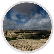 Jerusalem From Mount Of Olives Round Beach Towel