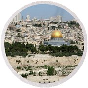 Jerusalem Skyline Round Beach Towel