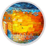 Round Beach Towel featuring the painting Jerusalem Wailing Wall Original Acrylic Palette Knife Painting by Georgeta Blanaru