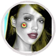 Jessica Alba Pop Art, Portrait, Contemporary Art On Canvas, Famous Celebrities Round Beach Towel by Dr Eight Love