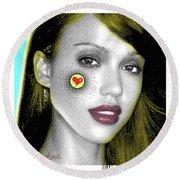 Jessica Alba Pop Art, Portrait, Contemporary Art On Canvas, Famous Celebrities Round Beach Towel