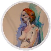 Jessica Round Beach Towel by Ray Agius