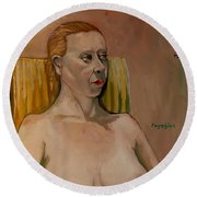 Round Beach Towel featuring the painting Jessica S by Ray Agius
