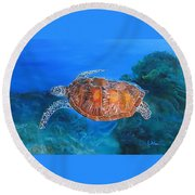 Round Beach Towel featuring the painting Jessie's Sea Turtle by LaVonne Hand