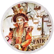 Jester Of The Fair Round Beach Towel by Jennie Breeze