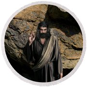Jesus Christ- Be Blessed And Prosper Round Beach Towel