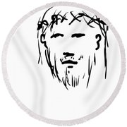 Jesus Christ Head Round Beach Towel