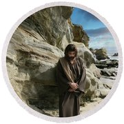 Jesus Christ- I Have Heard Your Prayer And Seen Your Tears I Will Heal You Round Beach Towel