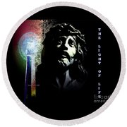 Round Beach Towel featuring the photograph Jesus Christ The Light Of Life by Annie Zeno