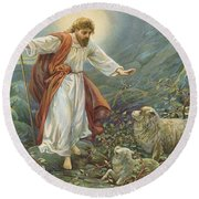 Jesus Christ The Tender Shepherd Round Beach Towel