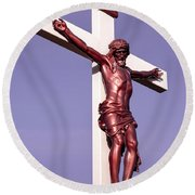 Jesus Crucifix Against The Sky 2 Round Beach Towel by Gary Whitton