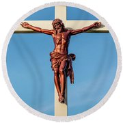 Jesus Crucifix Against The Sky 3 Round Beach Towel by Gary Whitton