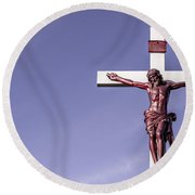Jesus Crucifix Against The Sky Round Beach Towel by Gary Whitton