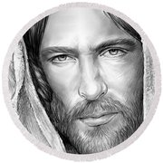 Jesus Face Round Beach Towel