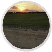 Jesus Healing Sunset Round Beach Towel