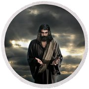 Jesus In The Clouds With Glory Round Beach Towel