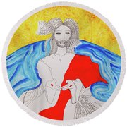 Jesus Messiah Second Coming Round Beach Towel
